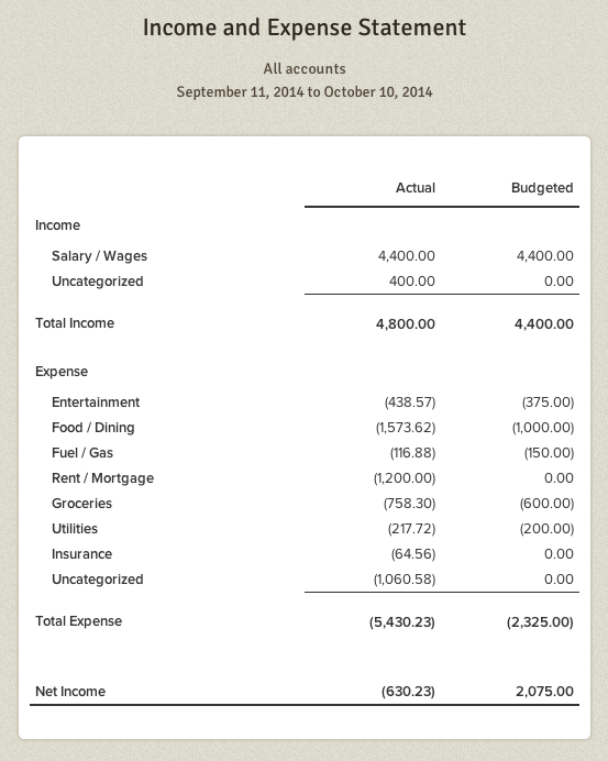 Income and Expense Statement beta