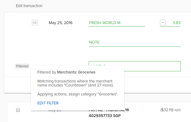 Show the filter applied to transaction in PocketSmith