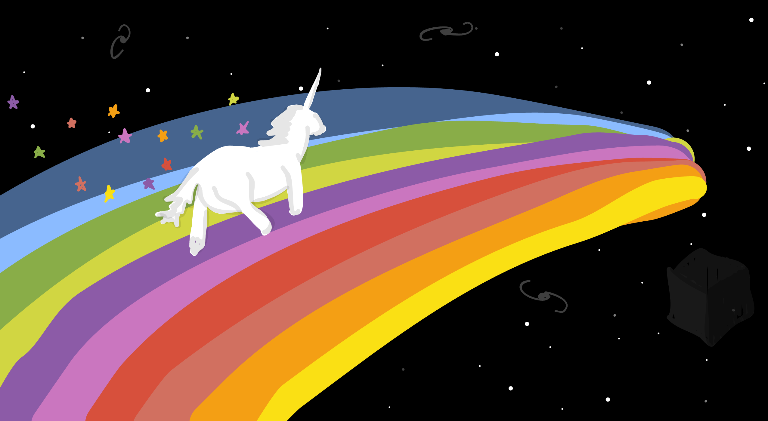 Faster PocketSmith is like a unicorn flying across a rainbow in space